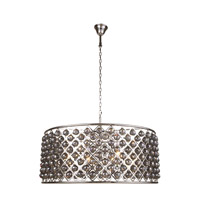 Elegant Lighting 1214G43PN-SS/RC Madison 10 Light 44 inch Polished Nickel Pendant Ceiling Light in Silver Shade Faceted Royal Cut Urban Classic