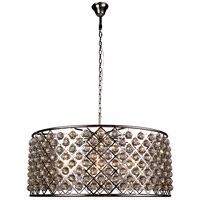Elegant Lighting 1214G43PN/RC Madison 10 Light 44 inch Polished Nickel Pendant Ceiling Light in Clear Faceted Royal Cut Urban Classic
