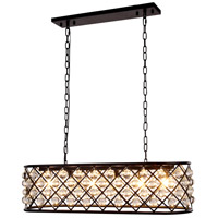 Madison 6 Light 40 inch Matte Black Island Pendant Ceiling Light in Clear, Smooth Royal Cut, Urban Classic