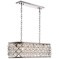 Urban Classic by Elegant Lighting Madison 6 Light Island Pendant in Polished Nickel with Royal Cut Clear Crystal 1215G40PN/RC