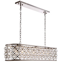 Madison 7 Light 50 inch Polished Nickel Island Pendant Ceiling Light in Clear, Smooth Royal Cut