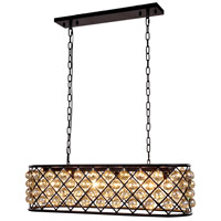 Urban Classic by Elegant Lighting Madison 6 Light Island Pendant in Mocha Brown with Royal Cut Golden Teak Crystal 1216G40MB-GT/RC
