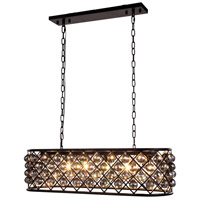 Urban Classic by Elegant Lighting Madison 6 Light Island Pendant in Mocha Brown with Royal Cut Silver Shade Crystal 1216G40MB-SS/RC