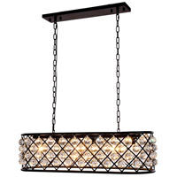 Urban Classic by Elegant Lighting Madison 6 Light Island Pendant in Mocha Brown with Royal Cut Clear Crystal 1216G40MB/RC