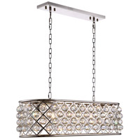 Urban Classic by Elegant Lighting Madison 6 Light Island Pendant in Polished Nickel with Royal Cut Clear Crystal 1216G40PN/RC