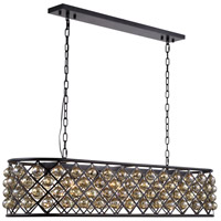 Urban Classic by Elegant Lighting Madison 7 Light Island Pendant in Mocha Brown with Royal Cut Golden Teak Crystal 1216G50MB-GT/RC