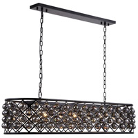 Urban Classic by Elegant Lighting Madison 7 Light Island Pendant in Mocha Brown with Royal Cut Silver Shade Crystal 1216G50MB-SS/RC