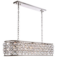 Madison 7 Light 50 inch Polished Nickel Island Pendant Ceiling Light in Clear, Faceted Royal Cut