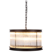 Urban Classic by Elegant Lighting Royale 6 Light Pendant in Mocha Brown with Glass Clear Crystal 1217D20MB