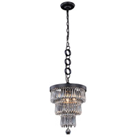 Elegant Lighting 1220D12MB/RC Bastille 3 Light 12 inch Matte Black Pendant Ceiling Light Urban Classic