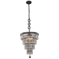 Elegant Lighting 1220D15MB/RC Bastille 4 Light 15 inch Matte Black Pendant Ceiling Light Urban Classic