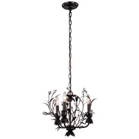 Elegant Lighting 1222D14GDB/RC Arbor 3 Light 14 inch Golden Dark Bronze Pendant Ceiling Light, Urban Classic