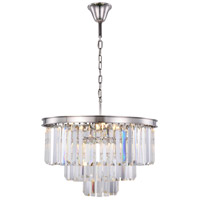 Elegant Lighting 1231D26PN/RC Sydney 9 Light 26 inch Polished Nickel Chandelier Ceiling Light, Urban Classic