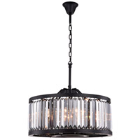 Elegant Lighting 1233D28MB-SS/RC Chelsea 8 Light 28 inch Matte Black Chandelier Ceiling Light Urban Classic