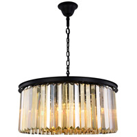 Elegant Lighting 1238D31MB-GT/RC Sydney 8 Light 32 inch Matte Black Chandelier Ceiling Light Urban Classic