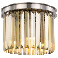 Sydney 3 Light 12 inch Polished nickel Flush Mount Ceiling Light, Urban Classic