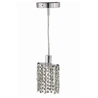 Elegant Lighting Mini 1 Light Pendant in Chrome with Royal Cut Clear Crystal 1281D-R-E-CL/RC