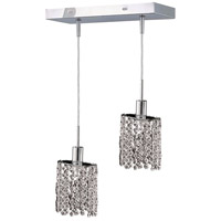 Mini 2 Light 5 inch Chrome Pendant Ceiling Light in Clear, Elegant Cut, Rectangle, Ellipse