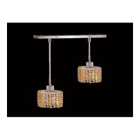 Elegant Lighting Mini 2 Light Pendant in Chrome with Royal Cut Light Topaz Crystal 1282D-O-E-LT/RC