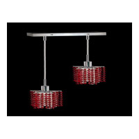 Elegant Lighting Mini 2 Light Pendant in Chrome with Royal Cut Bordeaux Crystal 1282D-O-P-BO/RC
