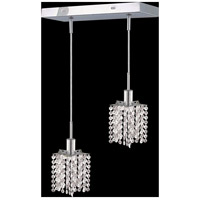 Mini 2 Light 5 inch Chrome Pendant Ceiling Light in Clear, Elegant Cut, Rectangle, Star