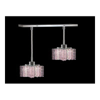 Elegant Lighting Mini 2 Light Pendant in Chrome with Royal Cut Rosaline Crystal 1282D-O-P-RO/RC