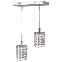 Mini 2 Light 5 inch Chrome Pendant Ceiling Light in Clear, Swarovski Strass, Rectangle, Round