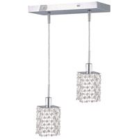 Mini 2 Light 5 inch Chrome Pendant Ceiling Light in Clear, Spectra Swarovski, Rectangle, Square