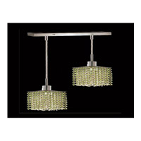 Elegant Lighting Mini 2 Light Pendant in Chrome with Swarovski Strass Light Peridot Crystal 1282D-O-S-LP/SS