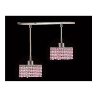 Elegant Lighting Mini 2 Light Pendant in Chrome with Royal Cut Rosaline Crystal 1282D-O-S-RO/RC