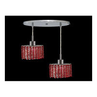 Elegant Lighting Mini 2 Light Pendant in Chrome with Royal Cut Bordeaux Crystal 1282D-R-E-BO/RC