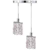 Mini 2 Light 9 inch Chrome Pendant Ceiling Light in Clear, Elegant Cut, Round, Ellipse
