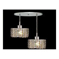 Elegant Lighting Mini 2 Light Pendant in Chrome with Royal Cut Golden Teak Crystal 1282D-R-E-GT/RC