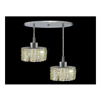 Elegant Lighting Mini 2 Light Pendant in Chrome with Swarovski Strass Light Peridot Crystal 1282D-R-E-LP/SS