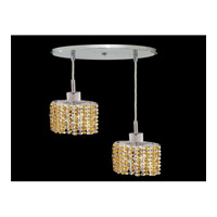 Elegant Lighting Mini 2 Light Pendant in Chrome with Royal Cut Light Topaz Crystal 1282D-R-E-LT/RC