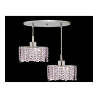 Elegant Lighting Mini 2 Light Pendant in Chrome with Royal Cut Rosaline Crystal 1282D-R-E-RO/RC