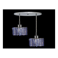 Elegant Lighting Mini 2 Light Pendant in Chrome with Royal Cut Sapphire Crystal 1282D-R-E-SA/RC