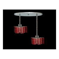 Elegant Lighting Mini 2 Light Pendant in Chrome with Swarovski Strass Bordeaux Crystal 1282D-R-P-BO/SS