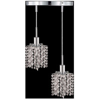 Mini 2 Light 9 inch Chrome Pendant Ceiling Light in Clear, Elegant Cut, Round, Star