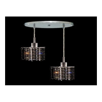 Elegant Lighting Mini 2 Light Pendant in Chrome with Royal Cut Jet Black Crystal 1282D-R-P-JT/RC