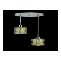Elegant Lighting Mini 2 Light Pendant in Chrome with Royal Cut Light Peridot Crystal 1282D-R-P-LP/RC