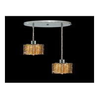 Elegant Lighting Mini 2 Light Pendant in Chrome with Royal Cut Light Topaz Crystal 1282D-R-P-LT/RC