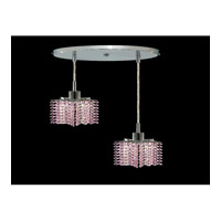 Elegant Lighting Mini 2 Light Pendant in Chrome with Royal Cut Rosaline Crystal 1282D-R-P-RO/RC