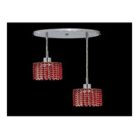 Elegant Lighting Mini 2 Light Pendant in Chrome with Royal Cut Bordeaux Crystal 1282D-R-R-BO/RC