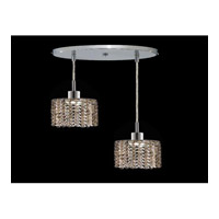 Elegant Lighting Mini 2 Light Pendant in Chrome with Royal Cut Golden Teak Crystal 1282D-R-R-GT/RC