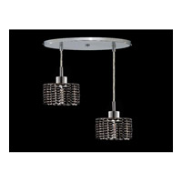 Elegant Lighting Mini 2 Light Pendant in Chrome with Royal Cut Jet Black Crystal 1282D-R-R-JT/RC