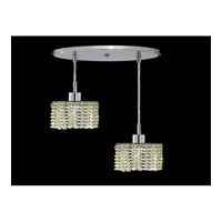 Elegant Lighting Mini 2 Light Pendant in Chrome with Royal Cut Light Peridot Crystal 1282D-R-R-LP/RC