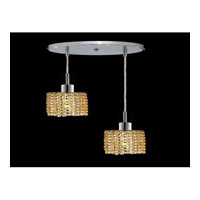 Elegant Lighting Mini 2 Light Pendant in Chrome with Royal Cut Light Topaz Crystal 1282D-R-R-LT/RC