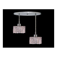 Elegant Lighting Mini 2 Light Pendant in Chrome with Royal Cut Rosaline Crystal 1282D-R-R-RO/RC