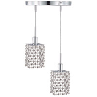 Elegant Lighting 1282D-R-S-CL/RC Mini 2 Light 9 inch Chrome Pendant Ceiling Light in Clear, Royal Cut, Round, Square